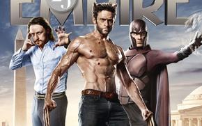 Картинка Wolverine, Hugh Jackman, X-Men, Logan, Хью Джекман, Джеймс МакЭвой, James McAvoy, Magneto, Michael Fassbender, Майкл ...