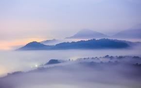 Картинка туман, пейзаж, горы, город