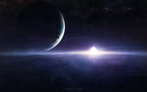 Картинка космос, звезды, поверхность, планеты, space, спутники, stars, planets, starlight