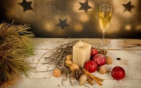 Картинка украшения, Новый Год, бокалы, Рождество, шампанское
