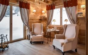 Картинка дизайн, уют, лампы, дерево, окно, кресла, чаепитие, посуда, шторы, столик, гостиная, кантри, дровница