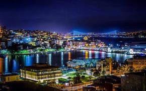 Картинка ночь, Стамбул, Турция, night, Istanbul, Turkey, Босфор, Bosphorus