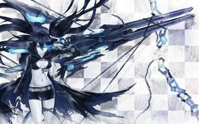 Картинка девушка, синий, оружие, меч, клетка, цепи, шрам
