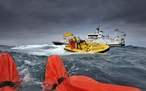 Картинка океан, ситуация, яхта, катер, спасатели, спасение
