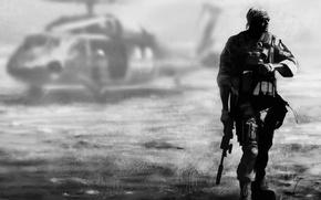 Картинка фон, солдат, вертолет, экипировка