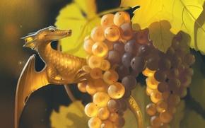 Картинка лес, дракон, ягода, виноград, art