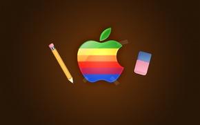 Обои карандаш, логотип, Apple