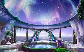 Картинка девушка, космос, звезды, цветы, красота, северное сияние, колодец, храм, kagaya