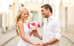 Картинка цветы, люди, букет, пара, отношения