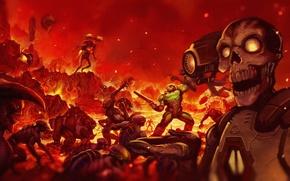 Картинка игра, Bethesda Softworks, hell, Doom, id software, Revenant, DoomGuy