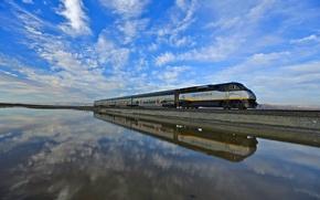 Картинка небо, вода, отражения, поезд, Калифорния, США, Drawbridge