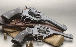 Картинка патроны, револьвер, кобура, 2 штуки, Revolver, Webley & Scott Mark IV