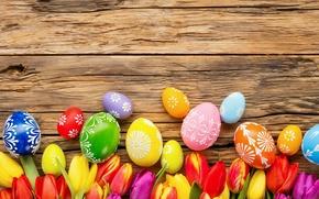 Картинка цветы, eggs, spring, Happy, flowers, tulips, тюльпаны, Пасха, яйца, Easter, decoration, весна