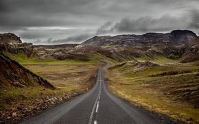 Картинка storm, road, hills, cloudy