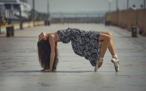 Картинка балерина, платье, пуанты, грация, танец, город