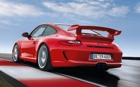 Картинка 911, 997, Porsche, Порше, вид сзади, GT3, ГТ3.красный