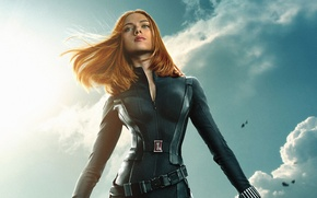Обои Scarlett Johansson, cinema, sky, clouds, Marvel, movie, Captain America, film, belt, Natasha, 2014, uniform, S.H.I.E.L.D., ...