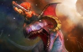 Картинка динозавр, меч, лев, воин, рога, битва