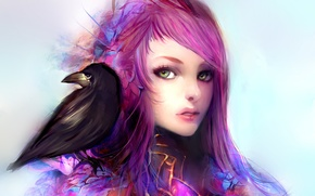 Картинка взгляд, арт, фон, клюв, лицо, волосы, ворон, девушка, птица