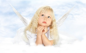 Обои девочка, childhood, крылья, ребенок, ангел, детство, angel, child, красивая, little girl, wings, beautiful