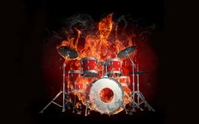 Обои установка, барабанщик, огонь