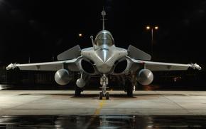 Картинка ночь, самолет, истребитель, ракеты, фонари, поколения, многоцелевой, французский, Dassault Rafale, четвертого, Шквал, топливные баки, Дассо …