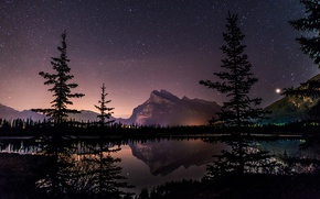 Обои landscape, Vermillion Lake, night, mirror, West Banff, trees, Canada, lake, Alberta, natural beauty, tourism, Canadian ...