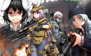 Картинка оружие, девушки, арт, очки, форма, уши, call of duty, touhou, konpaku youmu, inaba tewi, reisen …