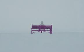 Обои человек, снег, скамейки, зима