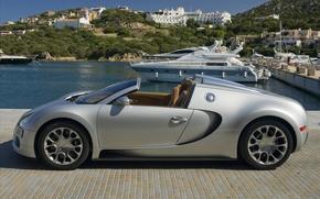 Обои Auto, Bugatti Expensive, пристань, катер