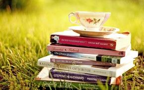 Картинка трава, книги, чашка, блюдце