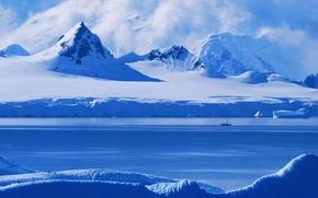 Картинка light, morning, Antarctica's Gerlache strait, along