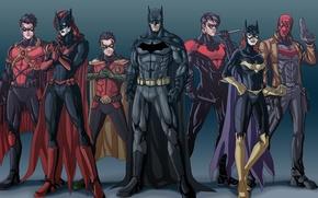Картинка Batman, Bruce Wayne, Batgirl, Red Hood, Tim Drake, Nightwing, Jason Todd, Bat-family