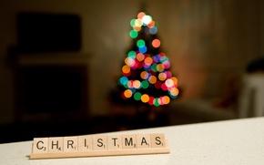 Картинка праздник, елка, рождество, Christmas, bokeh
