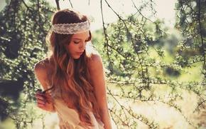 Картинка цветы, ветки, волосы, платье, dress, flowers, hair, branches