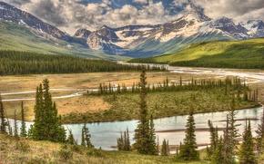 Картинка лес, небо, облака, деревья, горы, река, долина, Канада, Alberta, Canada, Banff national park, Howse River