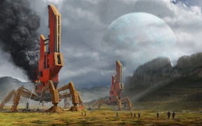 Обои арт, сооружения, люди, планета, установки, дым, вода, скалы, пожар
