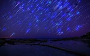 Картинка Shooting Stars, starfall, звездопад, sea, море, darkness, ночь, night, небо, sky, звезды, темнота