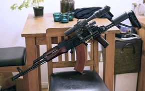 Картинка оружие, Калашникова, комната, AKM, автомат