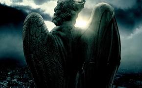 Обои ангел, бетоный, фон, город