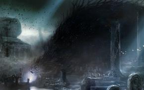 Картинка ночь, демон, разрушение, вороны, ведьма, чудовище, надгробие, обряд, Кладбище