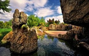 Картинка небо, вода, облака, деревья, птицы, пруд, парк, камни, сад, испания, фламинго, valencia