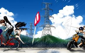 Картинка небо, трава, облака, горы, птицы, природа, велосипед, оружие, девушки, ветер, знак, провода, гитара, аниме, наушники, …