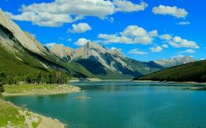 Обои medicine lake, jasper national park, альберта, канада