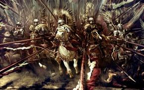 Картинка оружие, атака, рисунок, крылья, доспехи, лошади, арт, гусары, 17 век, польские, крылатые