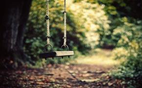 Картинка дорога, одиночество, качели