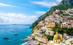 Картинка Amalfi Coast, залив, побережье, море, лодки, здания, Позитано, Italy, Campania, Gulf of Salerno, Амальфитанское побережье, ...