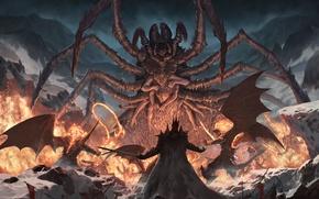 Картинка снег, пламя, крылья, паук, меч, битва, мутант, Silmarillion, into the storm, многорукий