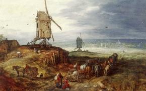 Картинка дом, люди, картина, повозка, Ян Брейгель старший, Пейзаж с Мельницей