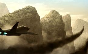 Картинка полет, горы, самолет, истребитель